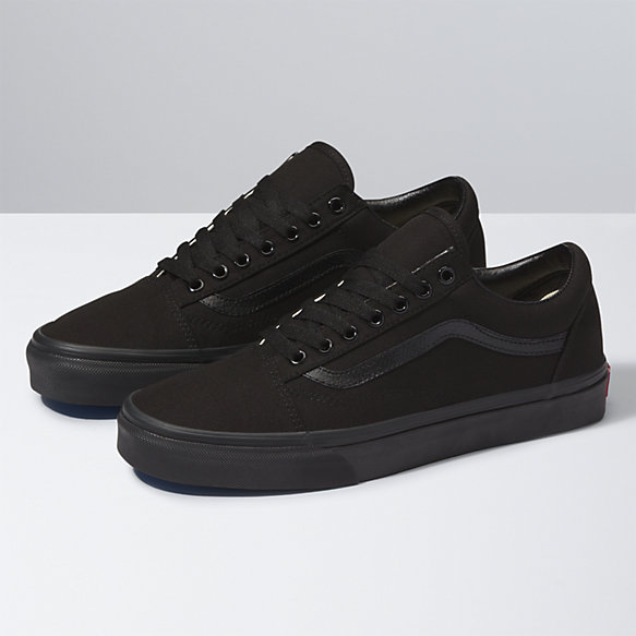 vans old skool canvas checkerboard trainers in black