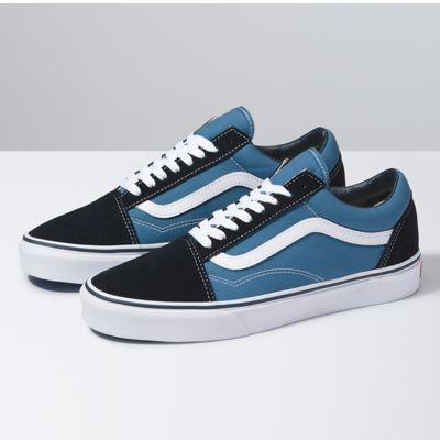 blue black and white vans
