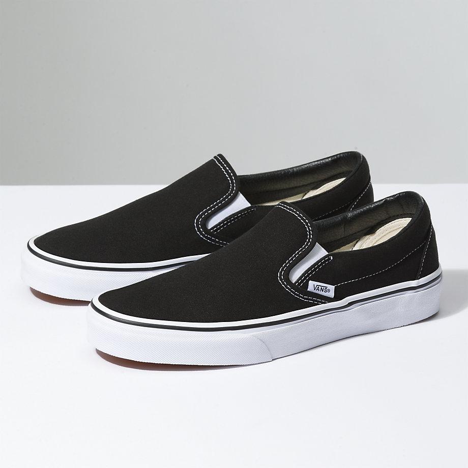 94f5153da50423 vans classic clip ons black white sole ...