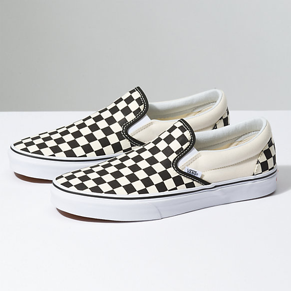 vans checkerboard shoes black white