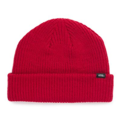 The Core Basics Beanie is a 100% acrylic cuff beanie with a Vans clip label.