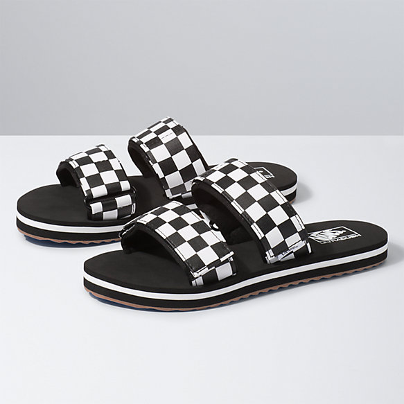 vans slides black and white