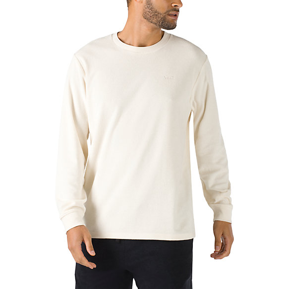 Work From Home Terry Cloth Boxy Knit Long Sleeve Shirt