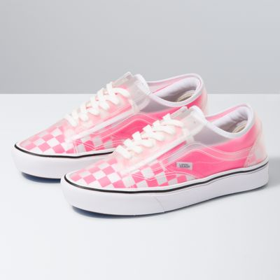 vans slip on checkerboard pink