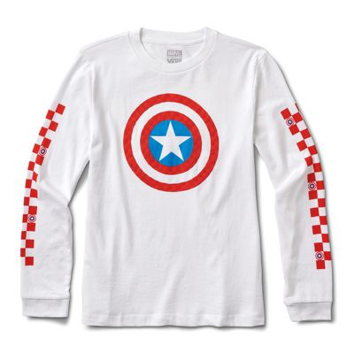 c83db9bb26f Vans x Marvel Captain Shields Long Sleeve Boyfriend Tee