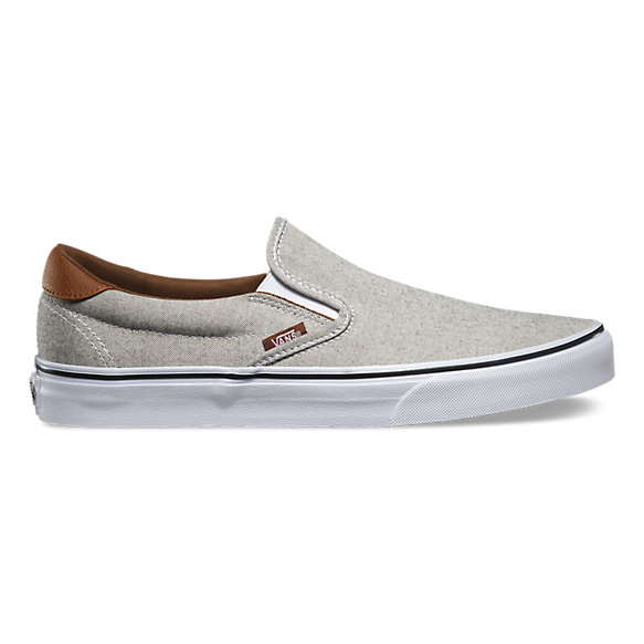 vans slip on leather beige