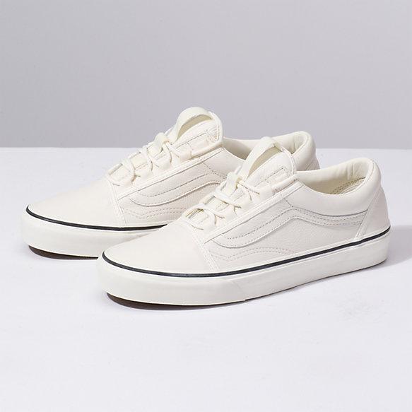 white vans old skool leather