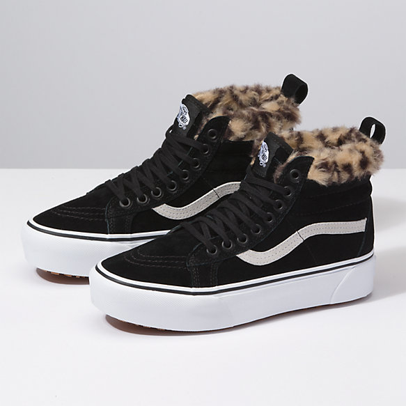 Details about Vans Off The Wall SK8 Hi All Black Leather High Top Sneakers 6 Womens