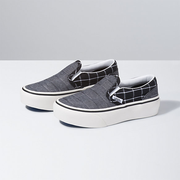 Kids Woven Check Classic Slip-On Platform