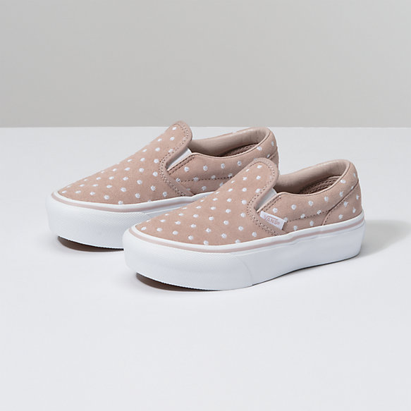Kids Suede Polka Dot Slip-On Platform