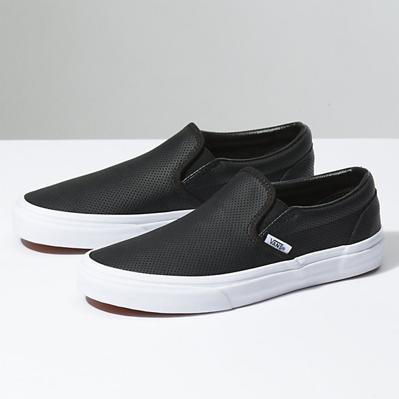 leather vans black junior