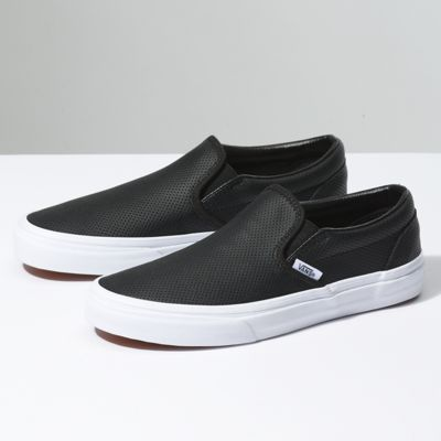 Cheap And Vans Skate Shoes Leather Black Black Slipon Perf Color the best discount price