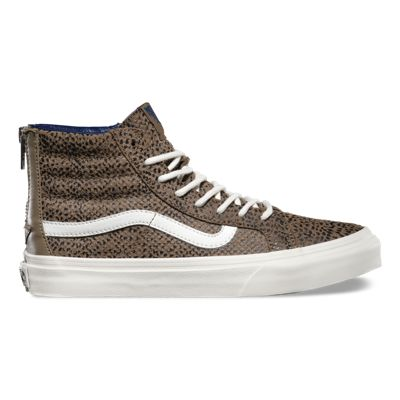 UK Fashion style Vans Cheetah Suede SK8Hi Slim Zip Womens Shoes BlackTan