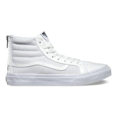 Womens Athletic Shoes vans sk8 hi slim black white perf stars vm8s71g2