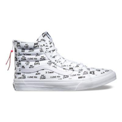 Vans Sk8-Hi Slim Zip Baron Von Fancy Womens 5.5 Mens 4 White Black Skate Shoes