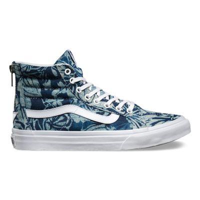 Vans Women Sk8 Hi Slim Mid Hi Indigo Tropical Zip shoes shoes With All Sizes