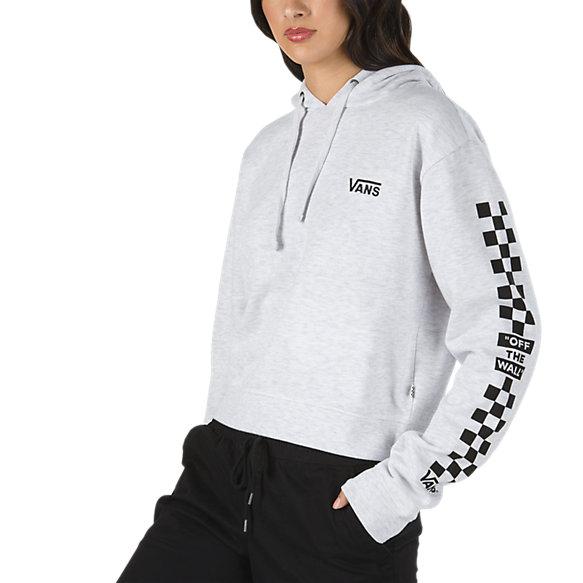 87c4ffdb96f3ae Vans Check Sleeve Cropped Pullover Hoodie