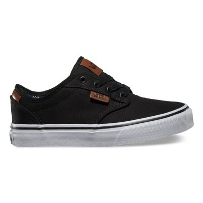 Mens Vans Canvas Shoes Black Black Atwood Lux Twill Trainers Mens