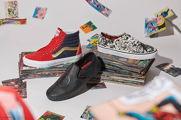 Marvel's Avengers and other beloved comic book characters will be featured on a line of shoes, sandals, and clothing from Vans.