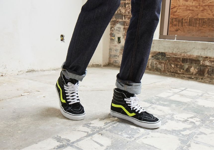 how to style vans sk8 hi with jeans