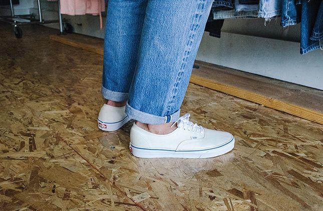 vans authentic white on feet