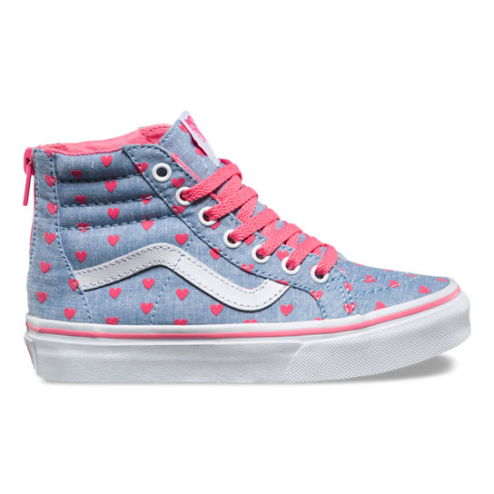 Kids Chambray Hearts Sk8-Hi Zip Shoes (4-8 years) | Vans