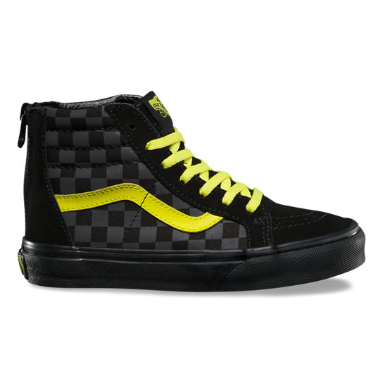 Kids Checkerboardboard SK8 Hi Zip Shoes