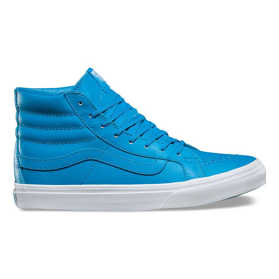 Chaussures Cuir Neon Sk8-hi Slim ((neon Leather) Neon Blue/true White) , Taille 34.5 - Vans - Modalova