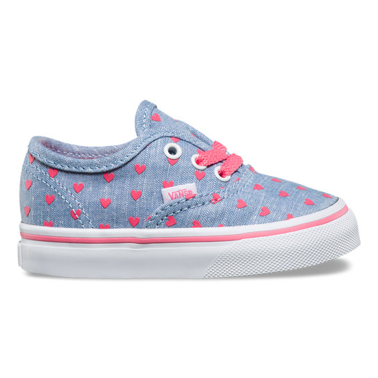 Toddler Chambray Hearts Authentic Shoes | Vans