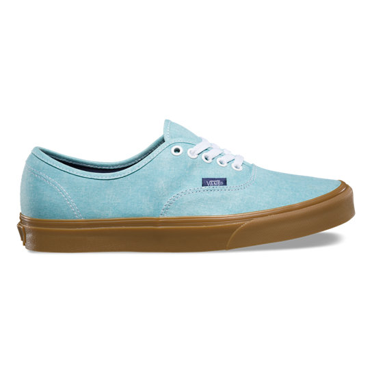 Vans Authentic Skate Shoes Washed Canvas Blue Radiance Gum