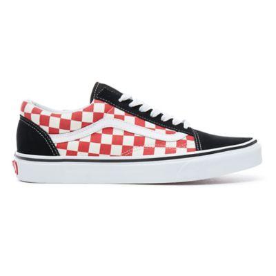 red checkerboard vans old school