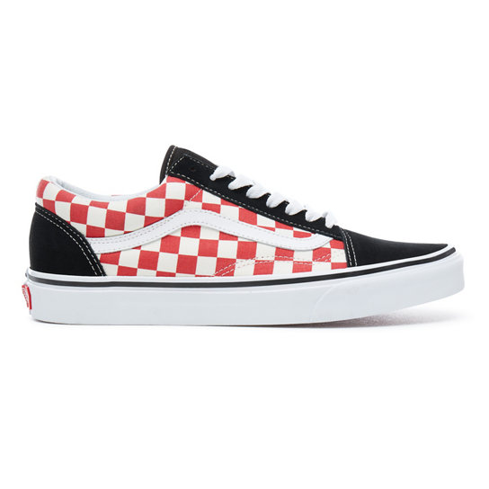 Red checkered old skool vans