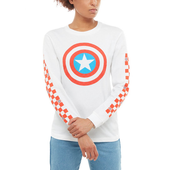 Vans X Marvel Captain Shields Long Sleeve Boyfriend T-Shirt | Vans