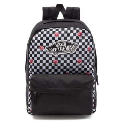 vans realm backpack rose checkerboard