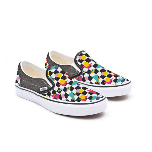 Gepersonaliseerde+Kids+Glitter+Geometric+Checkerboard+Slip-On