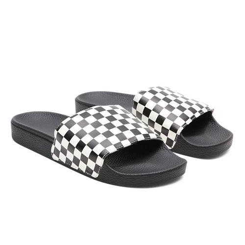 Checkerboard+Slide-On+Sandals