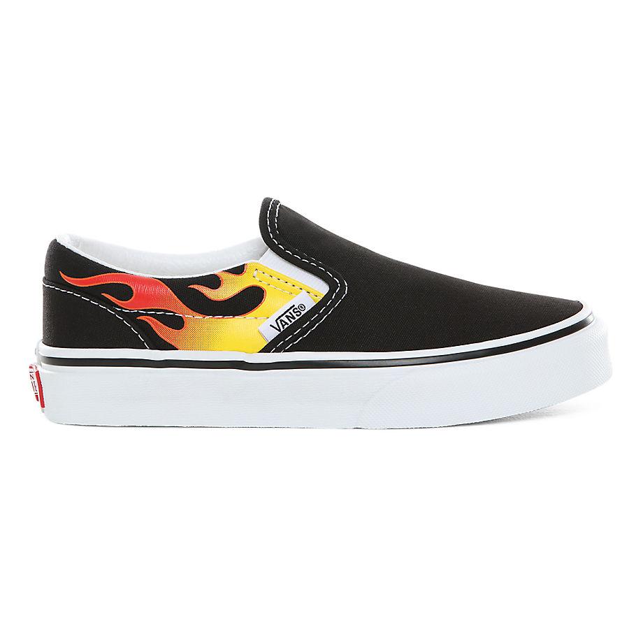 Chaussures Junior Flame Classic Slip-on (4-8 Ans) ((flame) Black/black/true White) Enfant , Taille 31.5 - Vans - Modalova