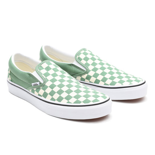Checkerboard Classic Slip-On Shoes | Green | Vans