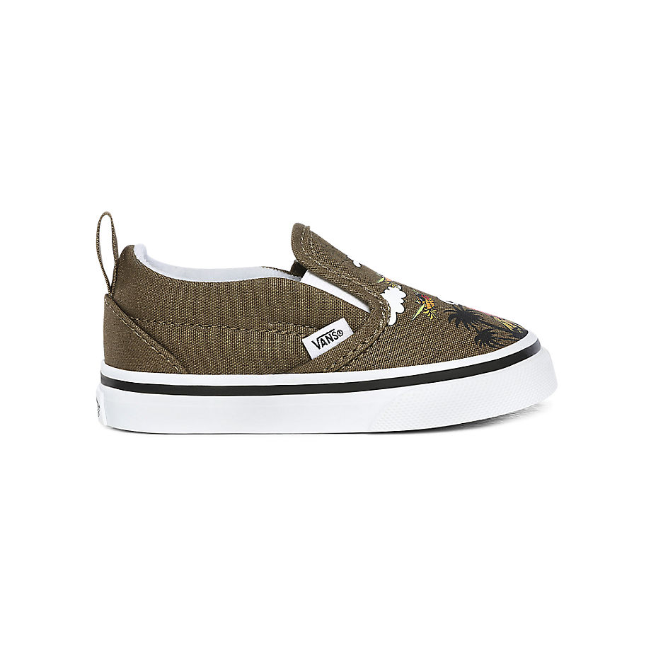 VANS Chaussures Bébé Dineapple Floral Slip-on V (1-4 Ans) ((dineapple Floral) Military Olive/true White) Toddler Vert, Taille 21