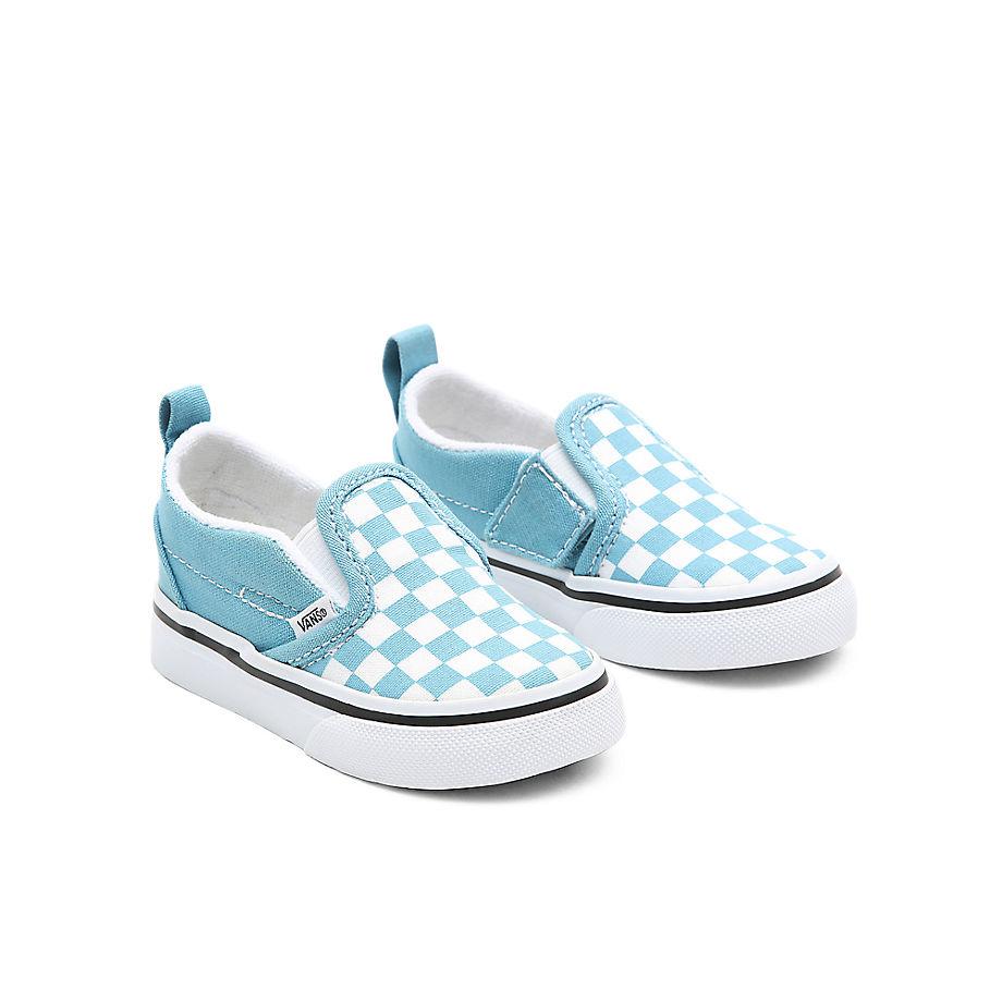 VANS Chaussures Checkerboard Classic Slip-on V Bébé (1-4 Ans) ((checkerboard) Delphinium Blue/true White) Toddler Bleu, Taille 26.5