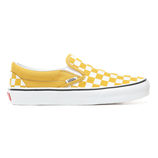 efc5a0055 Checkerboard Classic Slip-On Shoes | Yellow | Vans