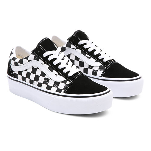 Vans Old Skool Canvas Checkerboard Trainers In Black V3Z6IB9