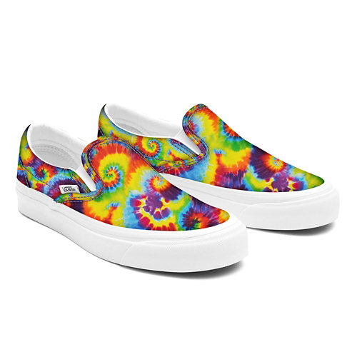Rainbow+Tie+Dye+ComfyCush+Slip-On+personalizadas