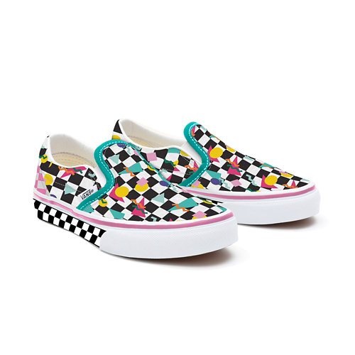 Gepersonaliseerde+Kids+Geometric+Checkerboard+Slip-On