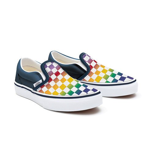 Gepersonaliseerde+Kids+Rainbow+Checkerboard+Slip-On