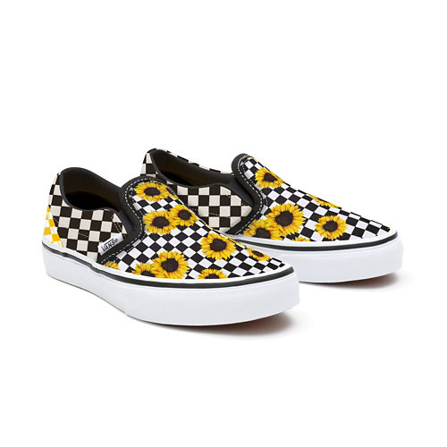 Gepersonaliseerde+Kids+Sunflowers+Checkerboard+Slip-On