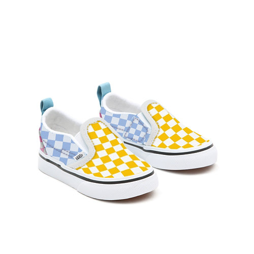 Personalisierbare+Toddler+Multicolour+Checkerboard+Slip-On
