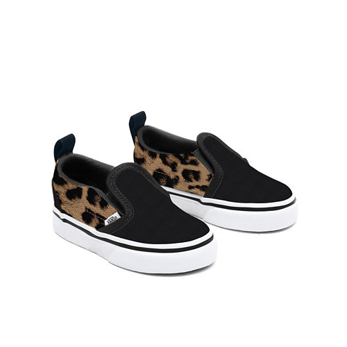 Personalisierbare+Toddler+Black+Leopard+Slip-On