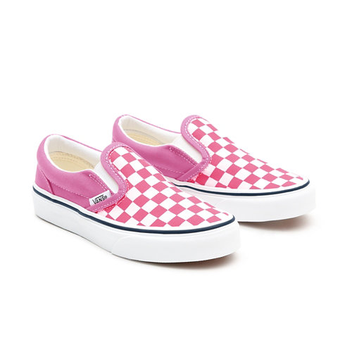 Personalisierbare+Kids+Pink+Checkerboard+Slip-On