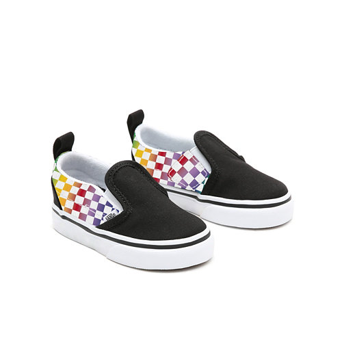 Personalisierbare+Toddler+Rainbow+Checkerboard+Slip-On